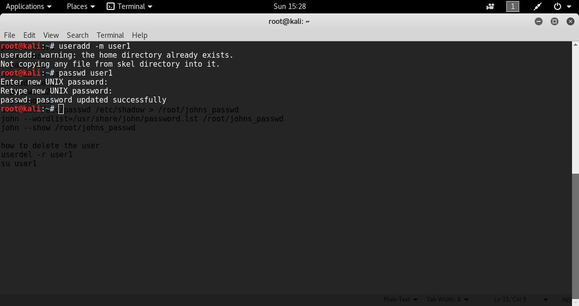 Create User1 PASSWORD CRACKING