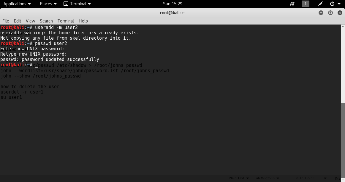 Create User2 PASSWORD CRACKING